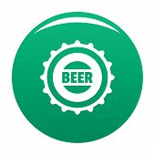 Beer Cap Icon. Simple Illustration Of Beer Cap Vector Icon For Any Design Green poster