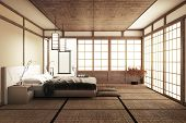 Modern Peaceful Bedroom. Zen Style Bedroom. Serene Bedroom. Wood Bed With Tatami Floor Japanese Styl poster