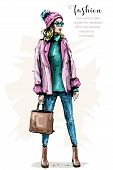 Hand Drawn Beautiful Young Woman In Fashion Clothes. Stylish Elegant Girl With Bag. Fashion Woman Lo poster
