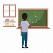 Student Black Drawing Star In Chalkboard Vector Illustration Design poster