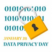 Data Privacy Day Global Holiday. Digital Information poster