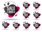 Sale Tags Set Vector Badges Template, 10 Off, 20 , 90, 80, 30, 40, 50, 60, 70 Percent Sale Label Sym poster