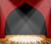 Background. Lighting On Stage. Red Curtain And Wooden Floor Interior Background. Interior Template F poster