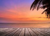 Empty Wooden Terrace Over Tropical Island Beach With Coconut Palm At Sunset Or Sunrise Time poster