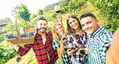 Young Friends Having Fun Taking Selfie At Winery Vineyard Outdoor - Friendship Concept On Happy Peop poster