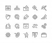 Simple Set Of Seo Related Vector Line Icons. Contains Such Icons As Increase Sales, Traffic Manageme poster