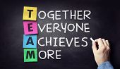 Team - together everyone achieves more written on blackboard poster