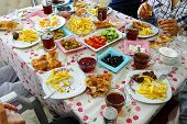 Turkish Breakfast Table, People Who Have Breakfast, Breakfast And Tea, Breakfast Table Full Of Food, poster
