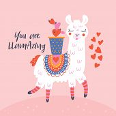 Valentines Day Cute  Llama Greeting Card. poster