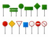 Traffic Road Realistic Signs. Signage Signal Warning Sign Stop Danger Caution Speed Highway Empty Pa poster