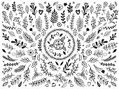 Hand Drawn Flowers Ornament. Ornamental Sketch Flourish Flower. Vintage Floral Ornaments Isolated Ve poster