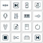 Music Icons Set With Musical Device, Shuffle, Stop Music And Other Mike Elements. Isolated  Illustra poster