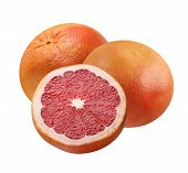 Pink Grapefruit Isolated On White Background.  Bunch Of Whole Citrus Fruit And Half. poster