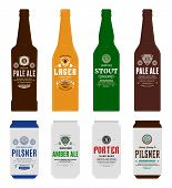Vector Beer Labels, Bottle And Can Mockups poster