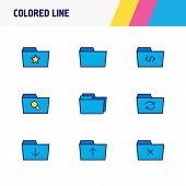 Illustration Of 9 Folder Icons Colored Line. Editable Set Of Search, Delete Folder, Favorite And Oth poster