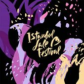 Illustration Istanbul Lale Festival, Flowers Festival On Hand Drawn Floral Decorative Background. Ca poster