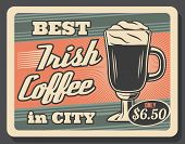 Coffee House With Energetic Irish Drink In Glass. Vector Hot Energetic Beverage With Whiskey From Ci poster