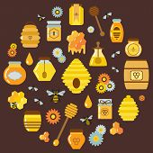 Organic Honey Products Icons In Circle Shape. Flying Bees, Flowers, Beehive, Combs, Dipper And Honey poster