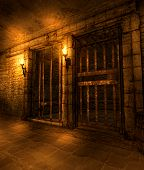 A Medieval Fantasy Dungeon Hallway Lined With Prison Cells, Illuminated By Torches, 3d Render poster