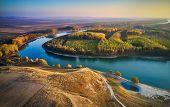 aerial view of the Danube river shore in summer, Dobrogea, Romania poster