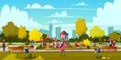 Vector Background Of Cartoon Playground In Park With People, Children Playing. Landscape With Green  poster