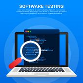 Software Testing. Software Development Workflow Process Coding Testing Analysis Concept. Vector Stoc poster