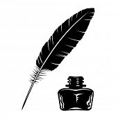 picture of inkpot  - Vector feather and ink bottle icon - JPG