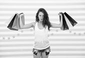 Shopping Girl With Heavy Bags. After Day Shopping. Muscular Girl Hold Purchase Or Present Packages.  poster