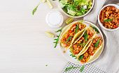 Mexican Tacos With Chicken Meat, Corn And Tomato Sauce. Latin American Cuisine. Taco, Tortilla, Wrap poster