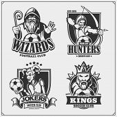 Set Of Soccer Emblems, Badges, Logos And Labels With Hunter, Wizard, King And Joker. Print Design Fo poster