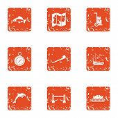 Difficult Terrain Icons Set. Grunge Set Of 9 Difficult Terrain Icons For Web Isolated On White Backg poster