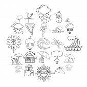 Rainy Weather Icons Set. Outline Set Of 25 Rainy Weather Icons For Web Isolated On White Background poster