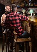 Hipster Bearded Man Spend Leisure With Friend At Bar Counter. Strong Alcohol Drinks. Opening Hours T poster