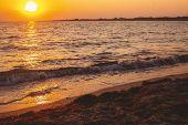 Sunset Seascape. Beautiful Seascape Evening Sunset Sea poster