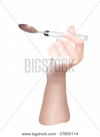 Hand Holding An Empty Tablespoon For Eating