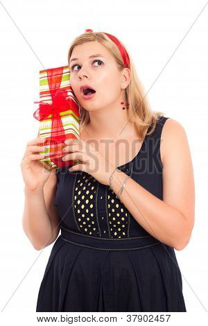 Curious Woman With Gift