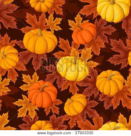 Seamless pattern with pumpkins and autumn maple leaves. Vector illustration.