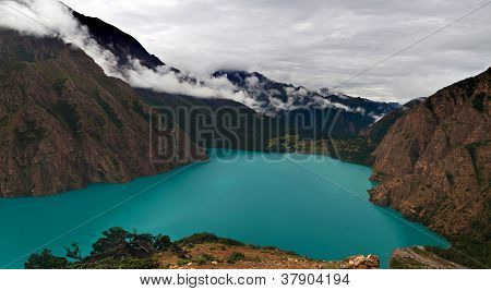 Phoksundo lake in Shey Phoksundo national park, Dolpa area, Nepal
