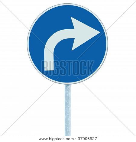 Turn Right Ahead Sign, Blue Round Isolated Roadside Traffic Signage, White Arrow Icon And Frame Road