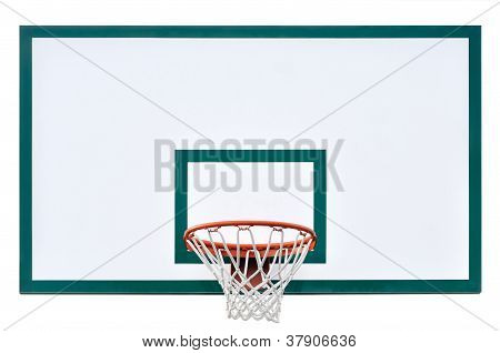 Basketball Hoop Cage, Isolated Large Backboard Closeup, New Outdoor Court Set, Green, Red, Orange, W