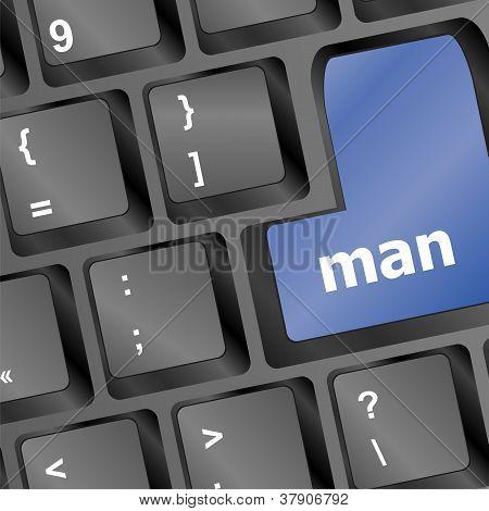 Man Blue Key On Keyboard Laptop Computer