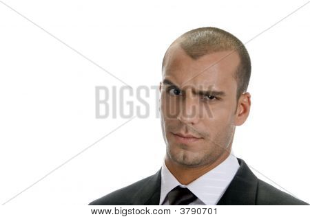 Man Expressing Suspicion With His Eyes