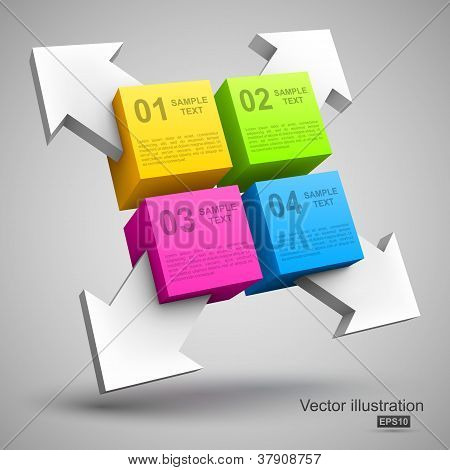Colorful cubes with arrows 3D