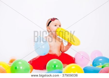 Cute Little Baby Child With Colorfull Balloons Birthday