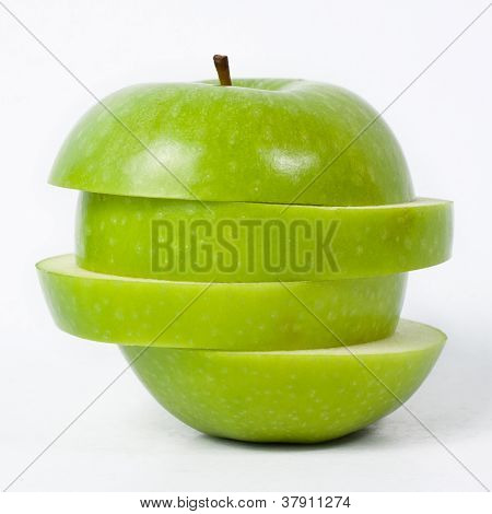 Sliced Green Apple Isolated On White Background
