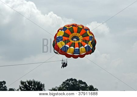 Female Para gliders In A Cloudy Sky