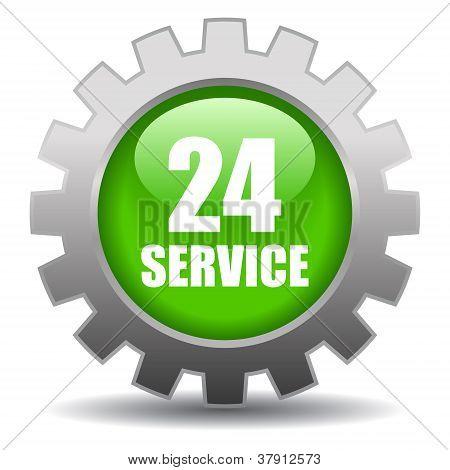 24 hour service vector icon