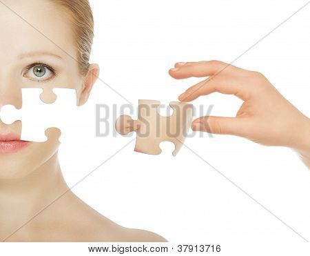 Concept Skincare With Puzzles. Skin Of Beauty Young Woman Before And After The Procedure