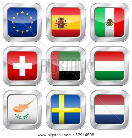 Metal Square National Flags 5