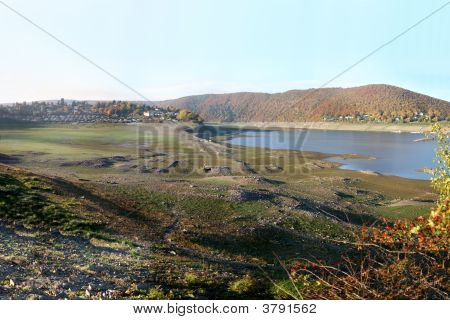 Reservoir Lake Edersee In Germany. Old Ruins Of The Village Bringhausen That Had Been 1914 Flooded.